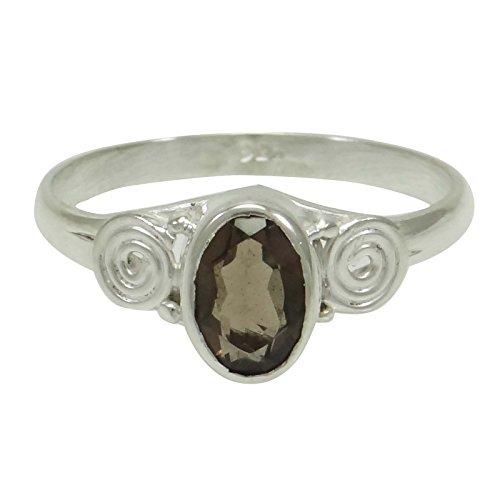 Banithani 925 concepteur d'argent topaze fumée bijoux de mode anneau de pierre
