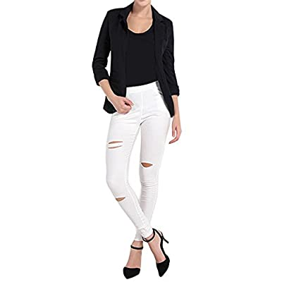 Lrady Women's Fashion Casual Rolled Up 3/4 Sleeve Slim Office Blazer Jacket Suits at Women's Clothing store