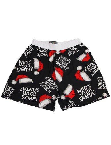 Fun Boxers - Mens Xmas Who's Your Santa Boxer Shorts, Black 34794-Large (Christmas For Men Boxers)