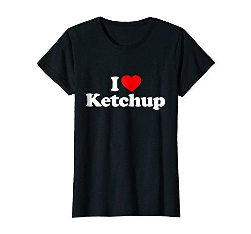 Ketchup Farms (Womens I Love Ketchup Heart Funny Gift T-Shirt Small Black)