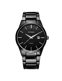 CURREN Reloj Para Hombres Diseño Ejecutivo Exclusivo Fechador Automático (Black)