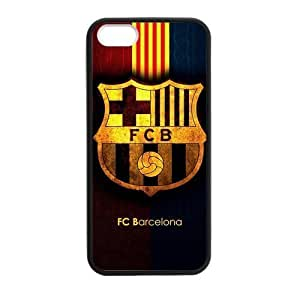 RAROFU Favorite Soccer Team FC Barcelona Custom Case for iPhone 5,5S TPU (Laser Technology)