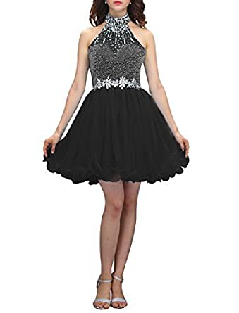 Wedtrend Women's Halter-neck Homecoming Dress with Beads Short Prom Dress WT12038Black 2