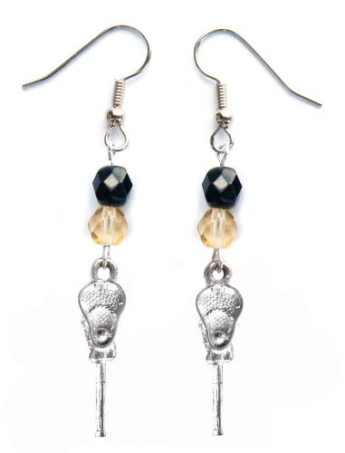 ''Lacrosse Stick & Ball'' Lacrosse Earrings (Team Colors Black & Gold) by Edge Sports
