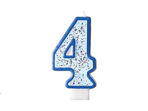 LoBeSo® Vela Plata Purpurina Número 4 Azul 7 cm x 4 cm Vela ...
