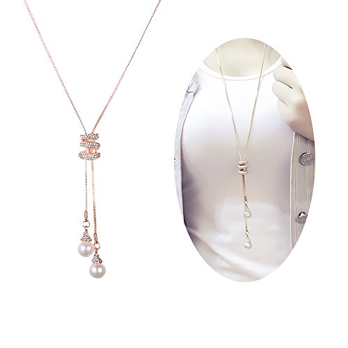Cleacloud Pearl Rhinestone Pendant Long Necklace Women Crystal Pendant Girls Tassel Layered Chain Charms Jewelry Golden