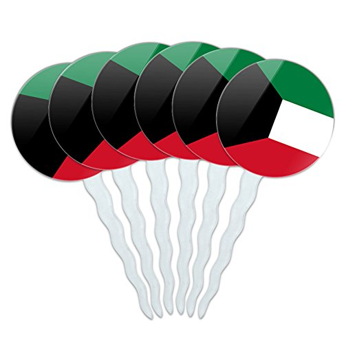 Set of 6 Cupcake Picks Toppers Decoration Country National Flag J-N - Kuwait National Country Flag (Kuwait Pick)