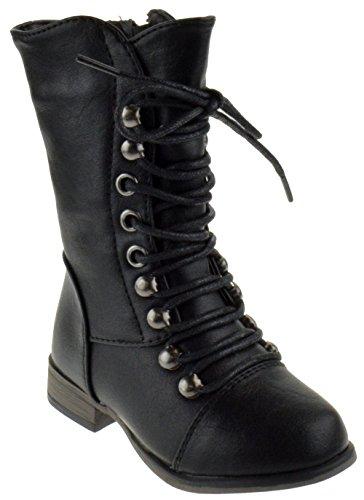Forever Link Legend-15KA Baby Girls Combat Lace Up Boots Black 5 Toddler]()