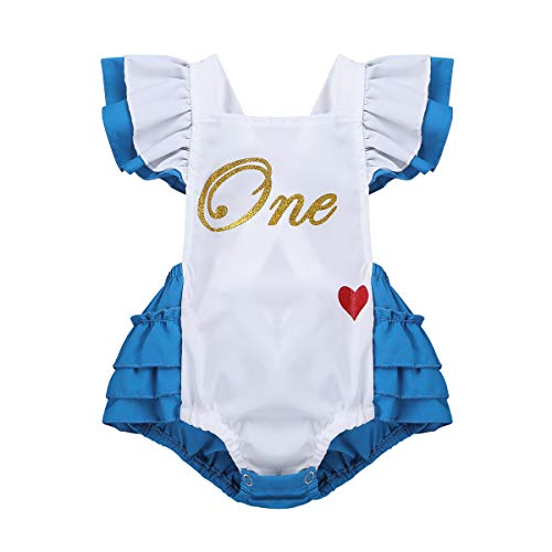 iEFiEL Infant Baby Girls' Alice Romper First Birthday Bodysuit Princess Tutu Ruffles Dresses Party Halloween Costumes White&Blue 6-12 -