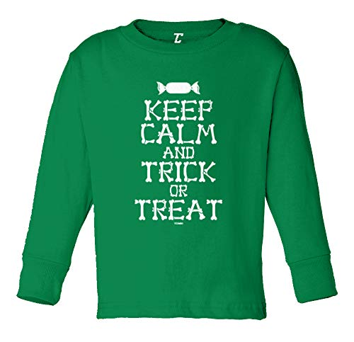 Keep Calm and Trick Or Treat - Halloween Long Sleeve Toddler Cotton Jersey Shirt (Kelly, 2T) ()