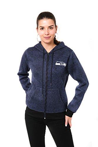 ICER Brands NFL Seattle Seahawks Women's Full Zip Hoodie Sweatshirt Marl Knit Jacket, Large, Navy