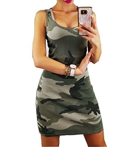Mansy Women's Summer Camo Sexy Bodycon Tank Sundresses ()