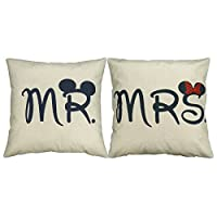 Luxbon – Set di 2 federe decorative per cuscino, motivo: Mr & Mrs [in inglese], ideali per casa, camera, divano, auto, matrimoni, 45 x 45 cm