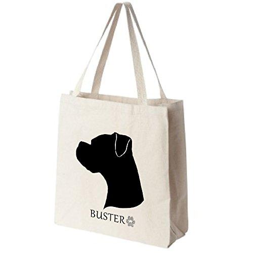 Cotton Canvas Reusable Tote Bag - Boxer Dog Portrait Silhouette Design - Choose Your Breed (Pets Bag Silhouette Tote)