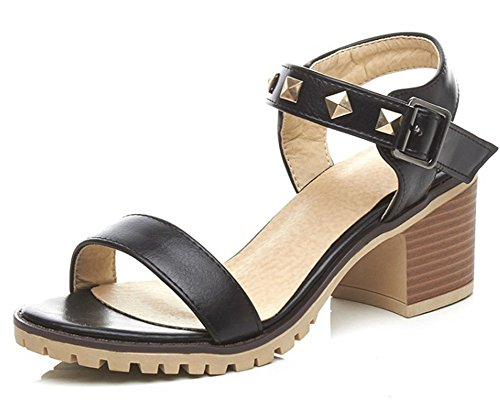 Mofri Women's Stylish Studded Rivets Buckled Ankle Strap Stacked Medium Block Heel Sandals (Black, 4 B(M) US) ()