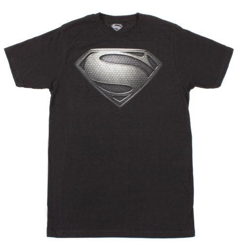 DC Comics Superman Man Of Steel Silver Logo T-Shirt Black X-Large