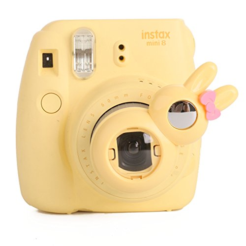 [Fujifilm Instax Close up Lens]-Woodmin Rabbit-style Selfie Lens for Fuji Instant Mini 8/8 Plus/7s Camera (Yellow) (Aluminum Traveler Case)