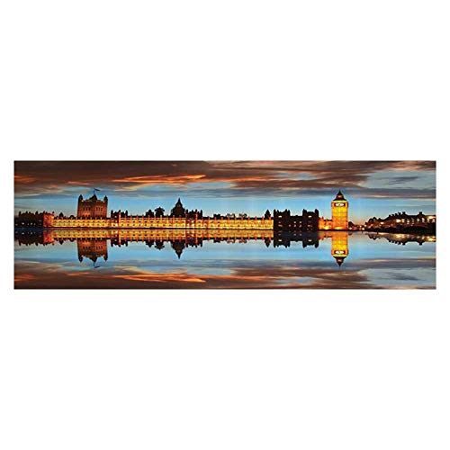 (UHOO2018 Aquarium Background Sticker Westminster Palace in Cloudy Night Reflected to Thames River Decal Sticker Home Decor Art 23.6