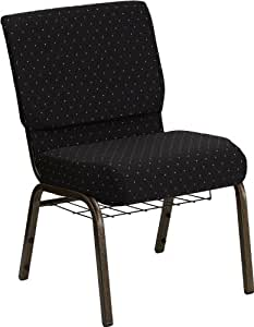 Flash Furniture HERCULES Series 21''W Church Chair in Black Dot Patterned Fabric with Cup Book Rack - Gold Vein Frame