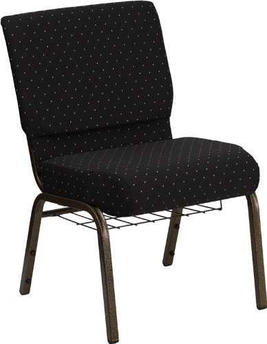 Flash Furniture HERCULES Series 21''W Church Chair in Black Dot Patterned Fabric with Cup Book Rack - Gold Vein Frame]()