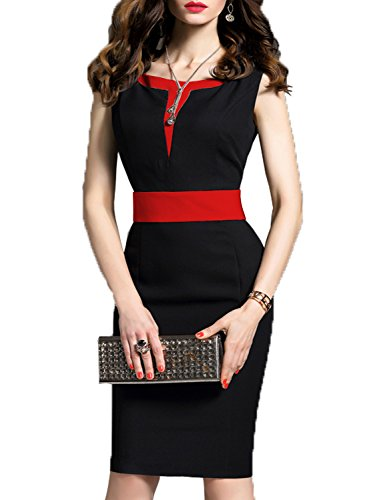 WOOSEA Women's 2/3 Sleeve Colorblock Slim Bodycon Business Pencil Dress (Small, Black+Red)