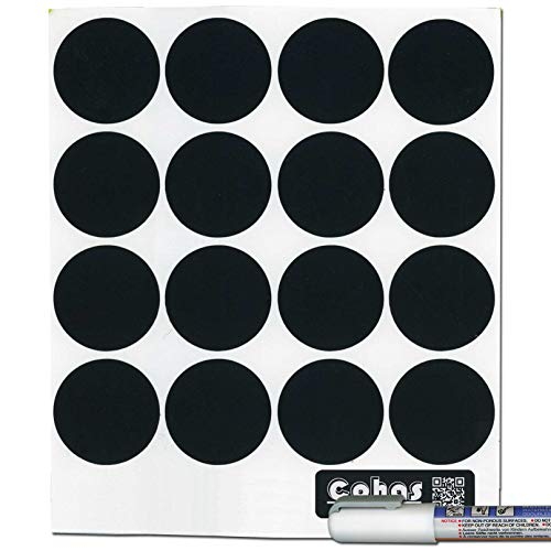 Big Chalkboard Circles - Cohas Chalkboard Labels for Libbey 4.5 Ounce Glass Spice Jars includes Liquid Chalk Marker and 48 Labels, Fine Tip, White Marker