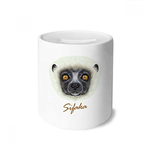 DIYthinker White Fluffy Sifaka Monkey Animal Money Box Saving Banks Ceramic Coin Case Kids Adults