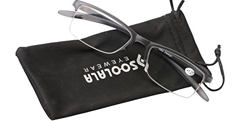 SOOLALA Mens Lightweight TR90 Half Frame Quality Reading Glasses with Pouch, Gray, - Face Online Frames