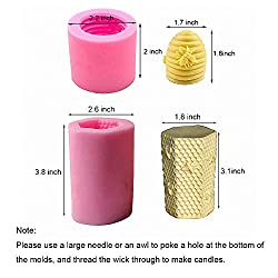 Fewo 2 Pack 3D Bee Honeycomb Candle Molds Beehive
