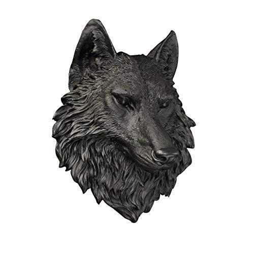 Wall Charmers Large Black Faux Wolf Head Wall Hanging - 16 inch Faux Taxidermy Animal Head Wall Decor - Handmade Farmhouse Decor - Wolves Black Wall Decor