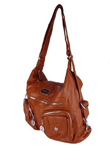 JODY 89297, 2in1 Damen Rucksackhandtasche, Handtasche und Rucksack, 37x28x15cm (grau taupe) Braun