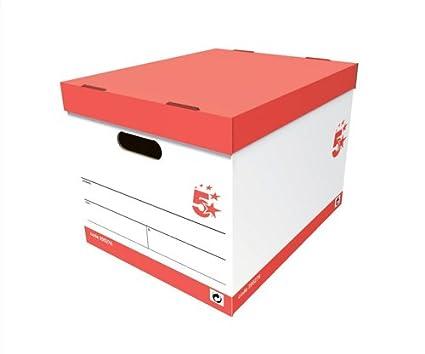 5 Star caja de almacenaje 5 A4 archivadores rojo y blanco, color multicolor