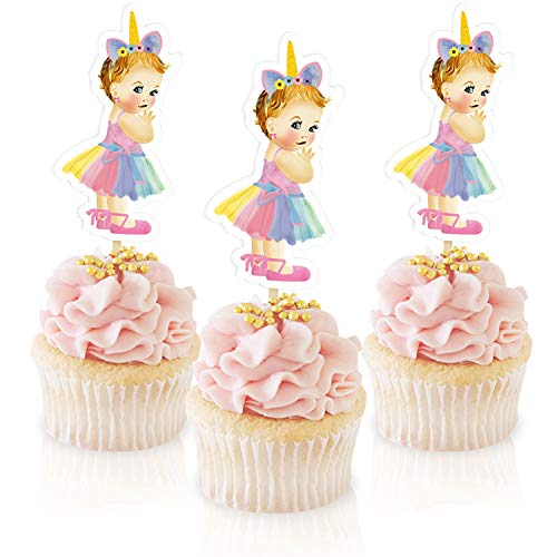 Unicorn Princess Cupcake Topper,Royal Baby Shower Decoration,Ballerina Tutu girl birthday Themed Party Supplies 24 Pack ()