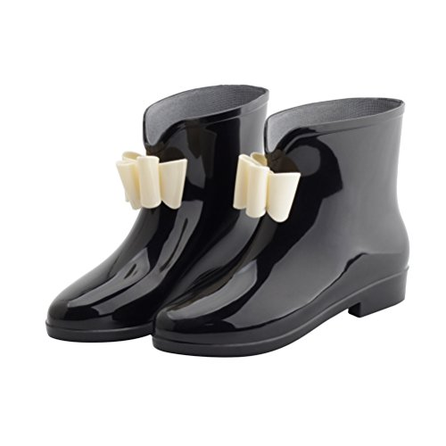 Omgard Rain Boots for Women, Ladies Short Rubber Ankle Rain Boot Low Heel Waterproof Shoes with Jelly Bows Slip On Wide Calf Rainboots for Garden Outdoor Color Black Size 7.5 -