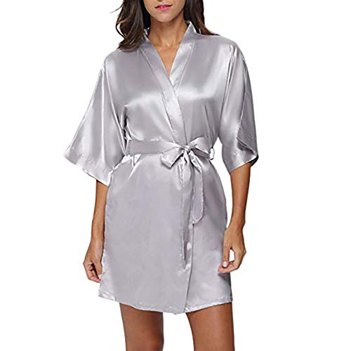 Myoumobi_ Women's Satin Kimono Robe Solid Color Satin Lace Trim Sexy Robes with Briefs Ties Underwear Set for Wedding (XX-Large, Gray)