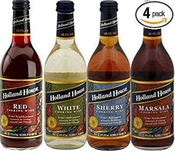 Holland House Cooking Wine 16oz Bottle (Pack of 4) Select Flavor Below (Sampler Pack - 1 Each of Red * White * Marsala & Sherry) (Best White Wine For Cooking)