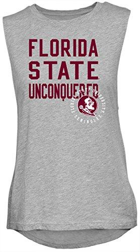 (NCAA Rocker Women's Sleeveless Drop Tail Tank, Athletic Heather, X-Large, Florida State Seminoles)