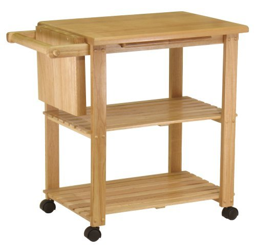 SJ Collection B21100005 Costal Wood Kitchen Cart, Small, Natural