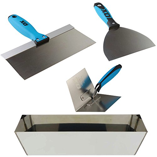 OX Pro Drywall Finishing Tool Set with Stainless Steel Mud Pan, Taping/Joint Knife Combo, Inside Corner Trowel