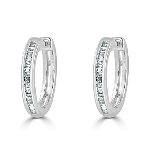 Diamond Wish 10K White Gold Baguette Diamond Huggie Hoop Earrings (1/4 cttw, O.White, I2-I3) ()