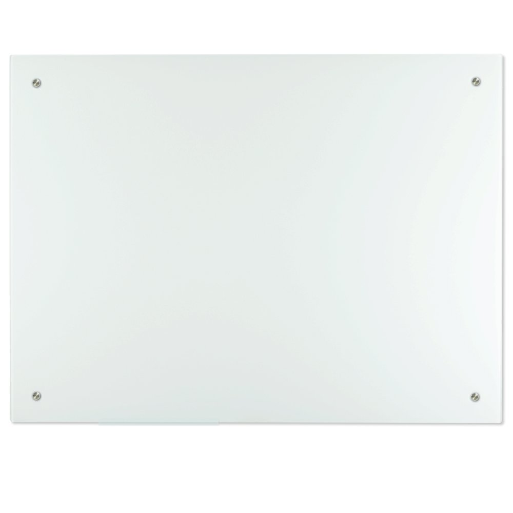 Lockways Magnetic Glass Dry Erase Board – Magnetic White board / Whiteboard 48 x 36, Glass Board, Glass Board Frameless, Magnets,Clear marker tray, for Office, Home, School