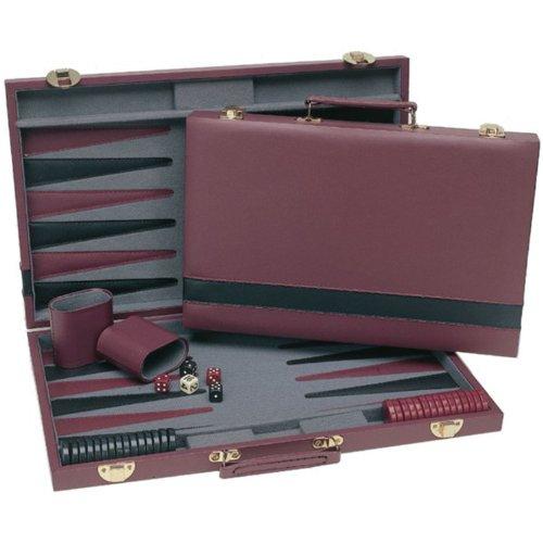 WE Games Tournament Backgammon Set - Burgundy & Black - Backgammon Black Wood