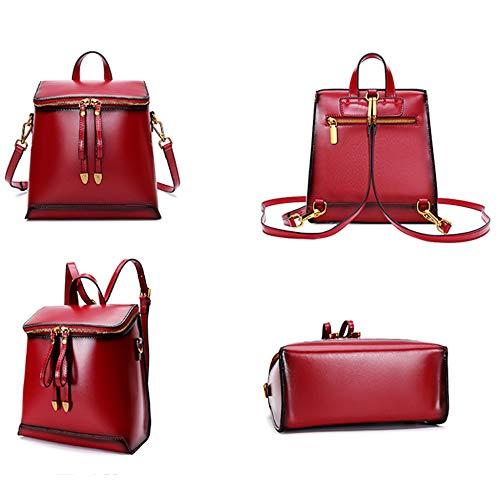 Cuir en Messenger Sac Body Main à Femmes Daypacks Bags Top Tout à D'épaule Red Poignée Sacs Dos Casual Véritable Cross MERRYHE Sacs Dames pour Fourre wxCRXXYF