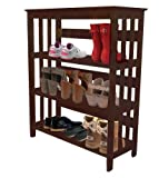 Women's Espresso Finish Large Shoe Rack (Shoes NOT Included). Great for the Closet, Entry Way, or Mud Room!