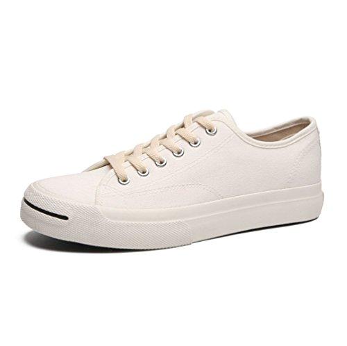 mogeek Baskets Mode Mixte Adulte Chaussures de Toile pour Femme Homme Blanc Onf5y