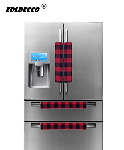EDLDECCO Refrigerator Door Handle Covers Fridge Oven Dishwasher Handle Electrical Kitchen Appliance Protective Cloth Sleeve (Red and Black Buffalo Check 4 pcs) (Refrigerator Handle Cover Red)