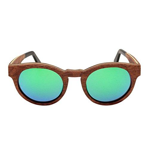 Eyewear Bois Lunettes Unisexe de Meijunter soleil Real RevêteHommest Polarisé lunettes Resin Lentilles Des Vert protection UV400 de 6WxH5n