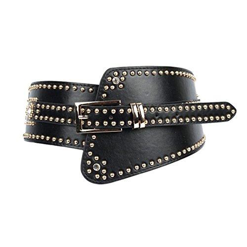 E-Clover Cool Leather Wide Elastic Belt for Dress Womens Black Stretch Western Cinch Belts for 25-32 Inch Waist 12 Black Studded Belt