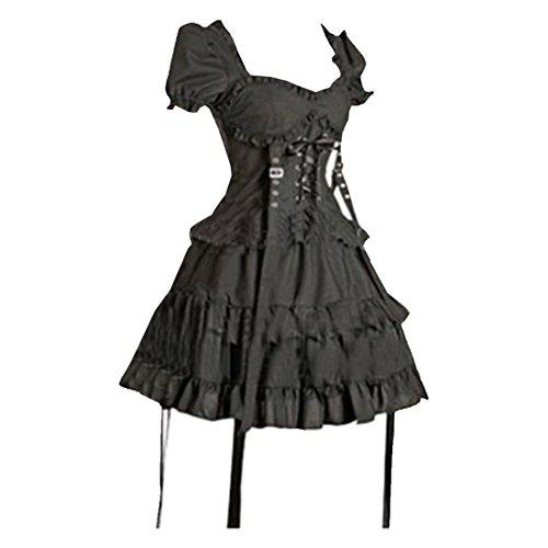 Clothing Gothic Store (Partiss Women's Black Cotton Gothic Lolita One-Piece Dress XL Black)
