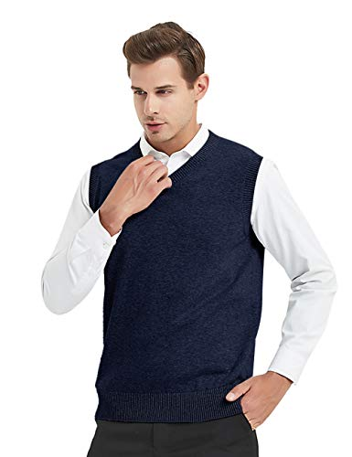 TOPTIE Mens Business Solid Color Plain Sweater Vest, Cotton Fit Casual Pullover-Navy-XL ()
